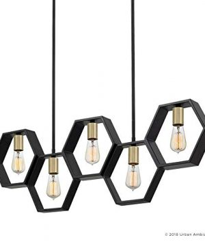Luxury Industrial Chandelier Large Size 13H X 40W With Geometric Style Elements Natural Black Finish UQL2771 From The Venezia Collection By Urban Ambiance 0 5 300x360