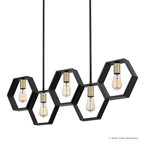 Luxury Industrial Chandelier Large Size 13H X 40W With Geometric Style Elements Natural Black Finish UQL2771 From The Venezia Collection By Urban Ambiance 0 5