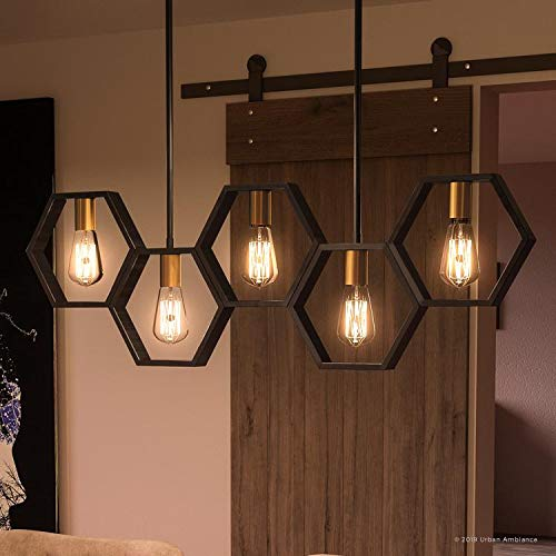 Luxury Industrial Chandelier Large Size 13H X 40W With Geometric Style Elements Natural Black Finish UQL2771 From The Venezia Collection By Urban Ambiance 0