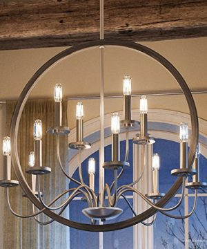 Luxury Modern Farmhouse Chandelier Large Size 2875H X 32W With English Country Style Elements Brushed Nickel Finish UHP2371 From The Dunkirk Collection By Urban Ambiance 0 300x360