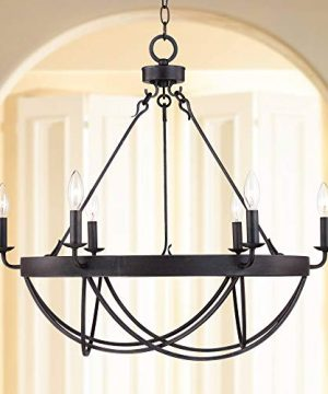 Lyster Square Oil Rubbed Bronze Chandelier 28 Wide Rustic Farmhouse Candelabra 6 Light Fixture For Dining Room House Foyer Entryway Kitchen Bedroom Living Room High Ceilings Franklin Iron Works 0 300x360