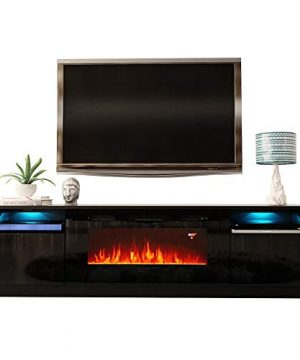 MEBLE FURNITURE RUGS York 02 Electric Fireplace Modern 79 TV Stand 0 300x360