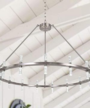 MEEROSEE Brushed Nickel Chandelier Modern LED Farmhouse Chandeliers Large D433 Acrylic Shade 30 Lights Island Round Dining Room Pendant Lighting Fixture For Kitchen Living Room Foyer Dimmable 0 300x360