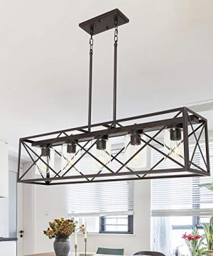MELUCEE 5 Light Farmhouse Chandelier For Dining Rooms Metal Industrial Rectangle Kitchen Island Pendant Lighting Oil Rubbed Bronze Finish With Clear Glass Shade 0 0 300x360