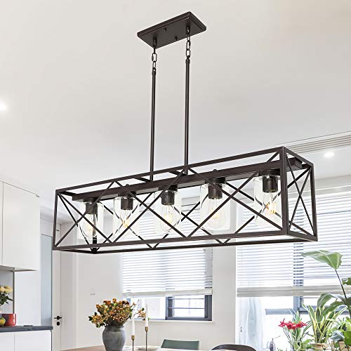 MELUCEE 5 Light Farmhouse Chandelier For Dining Rooms Metal Industrial Rectangle Kitchen Island Pendant Lighting Oil Rubbed Bronze Finish With Clear Glass Shade 0 0