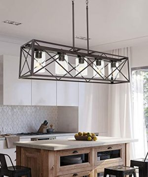 MELUCEE 5 Light Farmhouse Chandelier For Dining Rooms Metal Industrial Rectangle Kitchen Island Pendant Lighting Oil Rubbed Bronze Finish With Clear Glass Shade 0 1 300x360