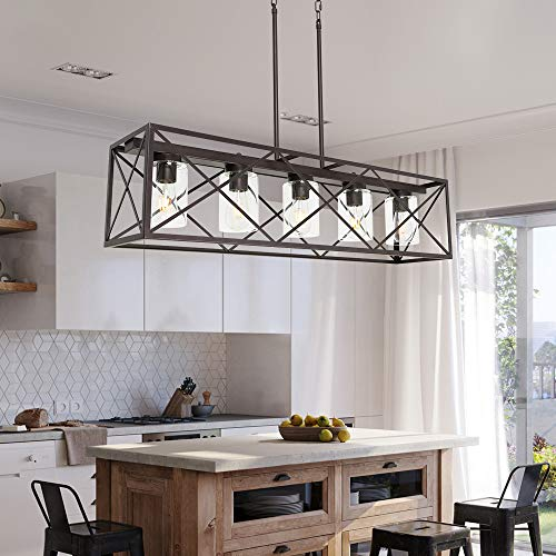 MELUCEE 5 Light Farmhouse Chandelier For Dining Rooms Metal Industrial Rectangle Kitchen Island Pendant Lighting Oil Rubbed Bronze Finish With Clear Glass Shade 0 1