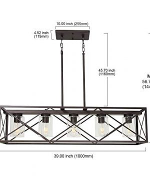 MELUCEE 5 Light Farmhouse Chandelier For Dining Rooms Metal Industrial Rectangle Kitchen Island Pendant Lighting Oil Rubbed Bronze Finish With Clear Glass Shade 0 3 300x360