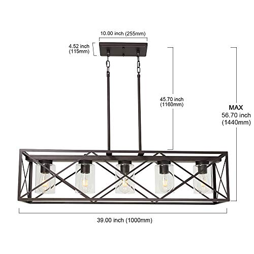 MELUCEE 5 Light Farmhouse Chandelier For Dining Rooms Metal Industrial Rectangle Kitchen Island Pendant Lighting Oil Rubbed Bronze Finish With Clear Glass Shade 0 3