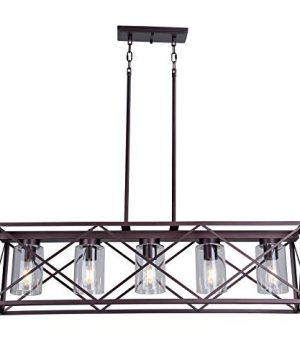 MELUCEE 5 Light Farmhouse Chandelier For Dining Rooms Metal Industrial Rectangle Kitchen Island Pendant Lighting Oil Rubbed Bronze Finish With Clear Glass Shade 0 300x360