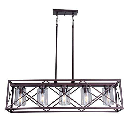 MELUCEE 5 Light Farmhouse Chandelier For Dining Rooms Metal Industrial Rectangle Kitchen Island Pendant Lighting Oil Rubbed Bronze Finish With Clear Glass Shade 0