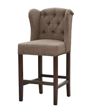 Madison Park Jodi Bar Stools Hardwood Birch Faux Linen Kitchen Chair Modern Classic Style Button Tufted Counter Seating Pub Furniture For Home See Below Taupe 0 300x360