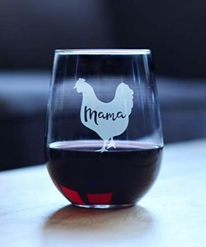Mama Hen Stemless Wine Glass For Mom Cute Funny Wine Gift Idea Unique Personalized Glasses For Mothers Day Or Birthday 0 0 300x360