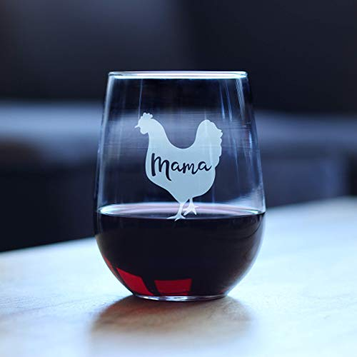 Mama Hen Stemless Wine Glass For Mom Cute Funny Wine Gift Idea Unique Personalized Glasses For Mothers Day Or Birthday 0 0
