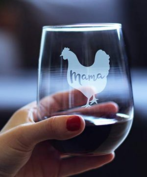Mama Hen Stemless Wine Glass For Mom Cute Funny Wine Gift Idea Unique Personalized Glasses For Mothers Day Or Birthday 0 1 300x360