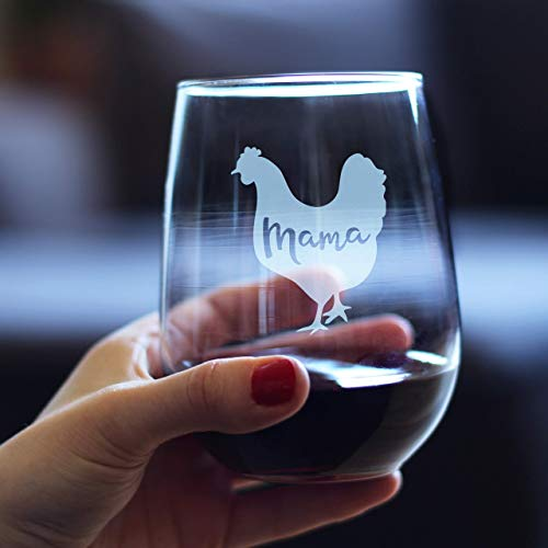 Mama Hen Stemless Wine Glass For Mom Cute Funny Wine Gift Idea Unique Personalized Glasses For Mothers Day Or Birthday 0 1