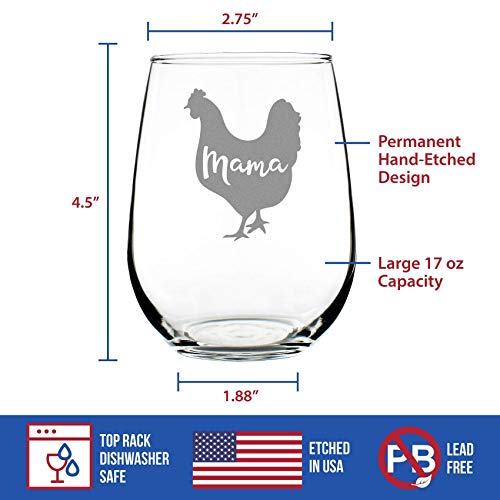 Mama Hen Stemless Wine Glass For Mom Cute Funny Wine Gift Idea Unique Personalized Glasses For Mothers Day Or Birthday 0 2