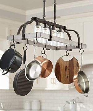 Marsden Bronze Gray Wood Rectangular Pot Rack Pendant Chandelier 36 Wide Rustic Farmhouse Clear Seedy Glass 4 Light Fixture For Dining Room House Island Entryway Living Room Franklin Iron Works 0 300x360