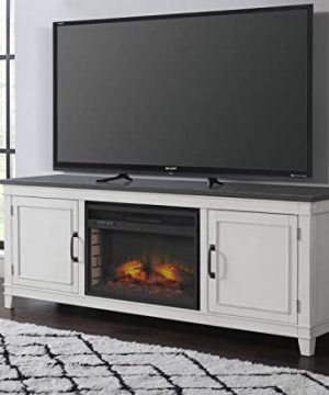 Martin Svensson Home Del Mar 70 Infrared TV Stand With Fireplace White And Grey 0 300x360