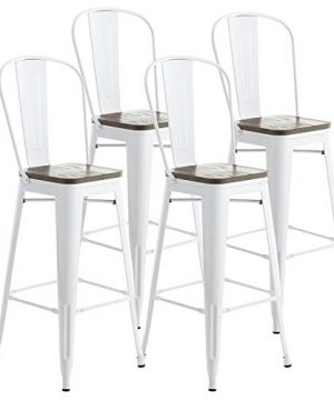 Mecor Metal Bar Stools Set Of 4 W Removable Backrest 30 Dining Counter Height Chairs With Wood Seat White 0 300x360