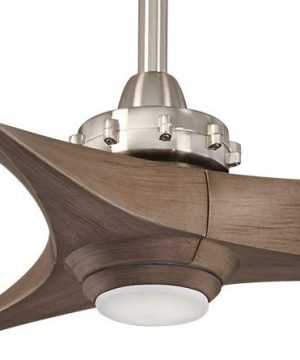 Minka Aire F853L BNAMP Aviation 60 Inch Ceiling Fan With LED Light And DC Motor In Brushed Nickel Finish And Ash Maple Blades 0 0 300x360