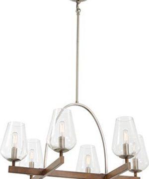 Minka Lavery 1066 699 Birnamwood Clear Glass Chandelier 6 Light 360 Total Watts Koa Wood With Pewter 20H X 28W 0 300x360