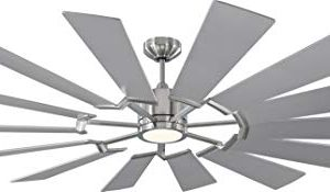 Monte Carlo 14PRR72BSD Prairie Grand Windmill Energy Star 72 Outdoor Ceiling Fan With LED Light And Hand Remote Control 14 Wood Blades Brushed Steel 0 300x175