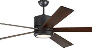 Monte Carlo 5VMR72OZD Vision Modern 72 Ceiling Fan With LED Light And 2 In 1 Wall Hand Remote Control 3 Specialty Carved Wood Blades Oil Rubbed Bronze 0 300x156