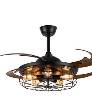 Moooni 48 Reversible Industrial Ceiling Fan With Lights And Remote Vintage Caged Chandelier Fan Light Kit Black Fandelier For Bedroom Dining Room Farmhouse 0 300x360