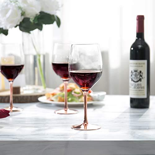 MyGift Modern 20 Oz Copper Toned Stemmed Wine Glasses Set Of 4 0 0