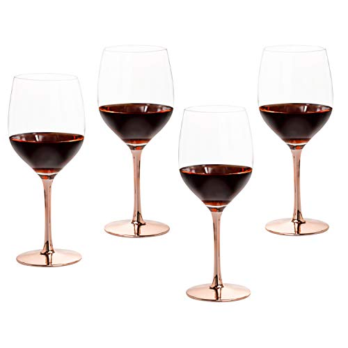 MyGift Modern 20 Oz Copper Toned Stemmed Wine Glasses Set Of 4 0 4