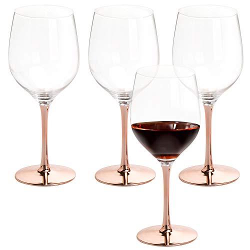 MyGift Modern 20 Oz Copper Toned Stemmed Wine Glasses Set Of 4 0 5