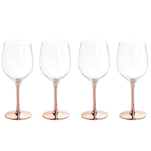 MyGift Modern 20 Oz Copper Toned Stemmed Wine Glasses Set Of 4 0