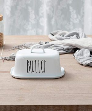 NIKKY HOME Butter Dish For Countertop Farmhouse Butter Keeper With Cover And Measuring Line Perfect For East West Coast Butter White 0 0 300x360