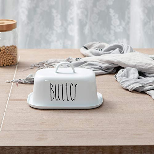 NIKKY HOME Butter Dish For Countertop Farmhouse Butter Keeper With Cover And Measuring Line Perfect For East West Coast Butter White 0 0