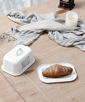NIKKY HOME Butter Dish For Countertop Farmhouse Butter Keeper With Cover And Measuring Line Perfect For East West Coast Butter White 0 1 300x360