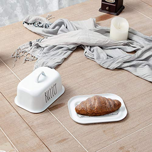NIKKY HOME Butter Dish For Countertop Farmhouse Butter Keeper With Cover And Measuring Line Perfect For East West Coast Butter White 0 1