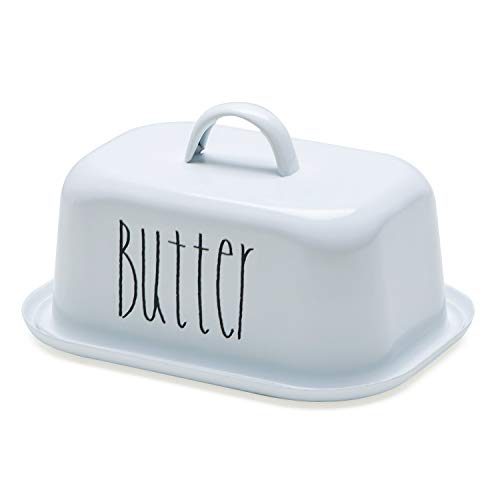 NIKKY HOME Butter Dish For Countertop Farmhouse Butter Keeper With Cover And Measuring Line Perfect For East West Coast Butter White 0 4