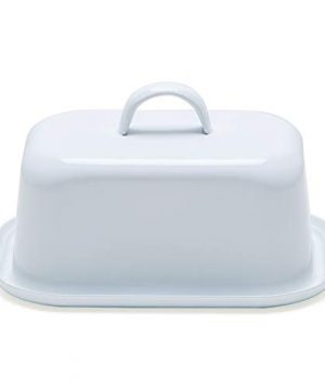 NIKKY HOME Butter Dish For Countertop Farmhouse Butter Keeper With Cover And Measuring Line Perfect For East West Coast Butter White 0 5 300x360