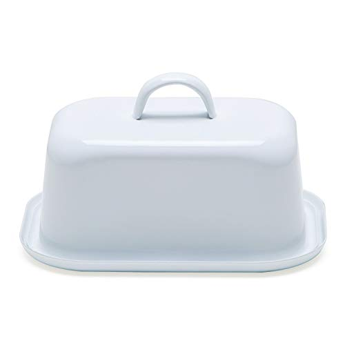 NIKKY HOME Butter Dish For Countertop Farmhouse Butter Keeper With Cover And Measuring Line Perfect For East West Coast Butter White 0 5