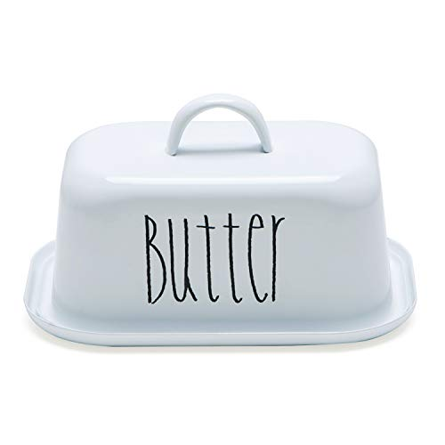 NIKKY HOME Butter Dish For Countertop Farmhouse Butter Keeper With Cover And Measuring Line Perfect For East West Coast Butter White 0