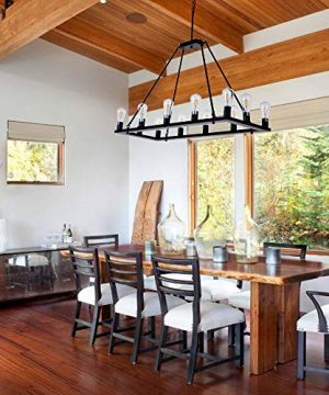 OSAIRUOS Rectangle Vintage Chandelier Kitchen Island Rustic Pendant Wagon W Farmhouse Antique Industrial Chandeliers Ceiling Light Fixture For Dining Living Room Cafe Hallways Entryway 12 Lights W39 0 0 300x360