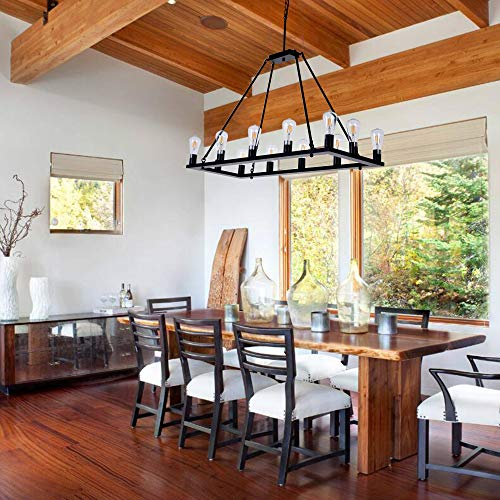 OSAIRUOS Rectangle Vintage Chandelier Kitchen Island Rustic Pendant Wagon W Farmhouse Antique Industrial Chandeliers Ceiling Light Fixture For Dining Living Room Cafe Hallways Entryway 12 Lights W39 0 0