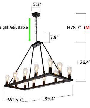 OSAIRUOS Rectangle Vintage Chandelier Kitchen Island Rustic Pendant Wagon W Farmhouse Antique Industrial Chandeliers Ceiling Light Fixture For Dining Living Room Cafe Hallways Entryway 12 Lights W39 0 2 300x360