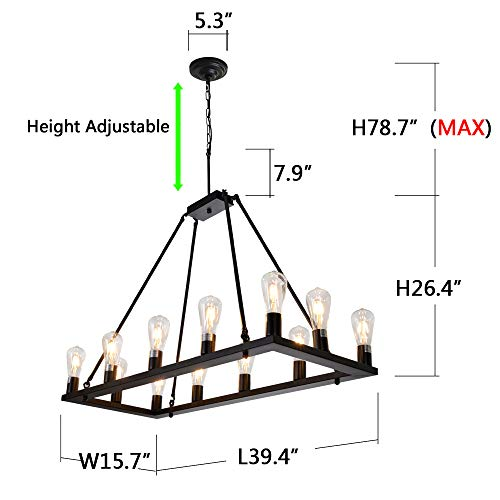 OSAIRUOS Rectangle Vintage Chandelier Kitchen Island Rustic Pendant Wagon W Farmhouse Antique Industrial Chandeliers Ceiling Light Fixture For Dining Living Room Cafe Hallways Entryway 12 Lights W39 0 2