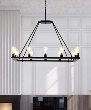 OSAIRUOS Rectangle Vintage Chandelier Kitchen Island Rustic Pendant Wagon W Farmhouse Antique Industrial Chandeliers Ceiling Light Fixture For Dining Living Room Cafe Hallways Entryway 12 Lights W39 0 3 300x360