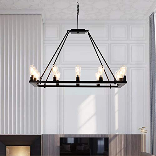 OSAIRUOS Rectangle Vintage Chandelier Kitchen Island Rustic Pendant Wagon W Farmhouse Antique Industrial Chandeliers Ceiling Light Fixture For Dining Living Room Cafe Hallways Entryway 12 Lights W39 0 3