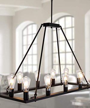 OSAIRUOS Rectangle Vintage Chandelier Kitchen Island Rustic Pendant Wagon W Farmhouse Antique Industrial Chandeliers Ceiling Light Fixture For Dining Living Room Cafe Hallways Entryway 12 Lights W39 0 300x360