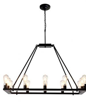 OSAIRUOS Rectangle Vintage Chandelier Kitchen Island Rustic Pendant Wagon W Farmhouse Antique Industrial Chandeliers Ceiling Light Fixture For Dining Living Room Cafe Hallways Entryway 12 Lights W39 0 4 300x360