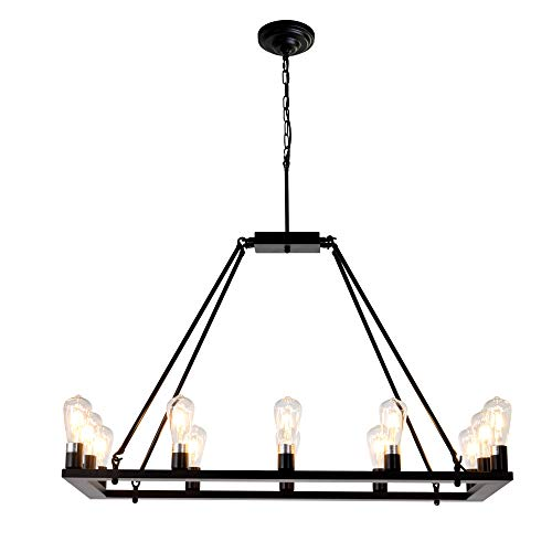 OSAIRUOS Rectangle Vintage Chandelier Kitchen Island Rustic Pendant Wagon W Farmhouse Antique Industrial Chandeliers Ceiling Light Fixture For Dining Living Room Cafe Hallways Entryway 12 Lights W39 0 4